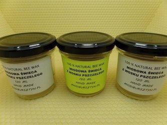 Miodowa Świeca z wosku pszczelego w słoiku z zakrętką