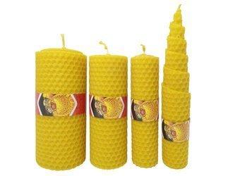 Zestaw czterech ekologicznych świec ręcznie zawijanych z wosku pszczelego PREMIUM