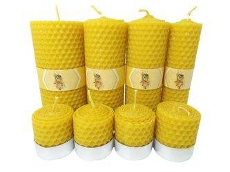 Zestaw ośmiu ekologicznych świec ręcznie zawijanych z wosku pszczelego