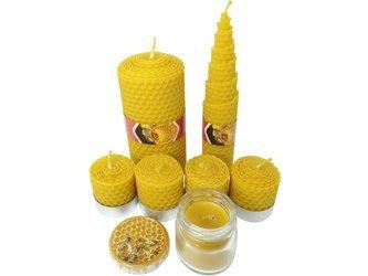 Zestaw siedmiu ekologicznych świec ręcznie zawijanych z wosku pszczelego PREMIUM