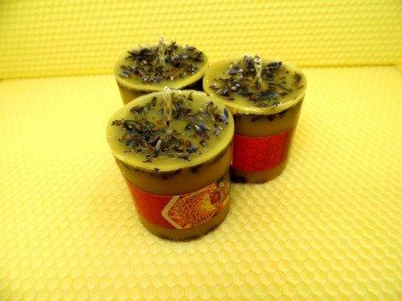 Ekologiczna świeca z wosku pszczelego z lawendą
