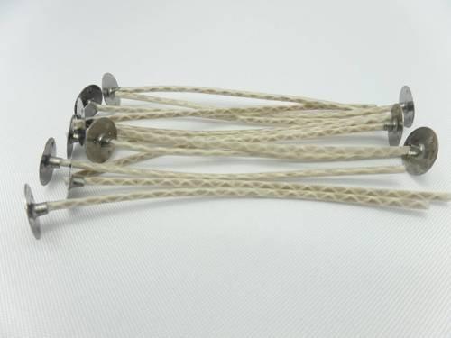 Knoty bawełniane z blaszkami knoty 10 cm 10 szt.