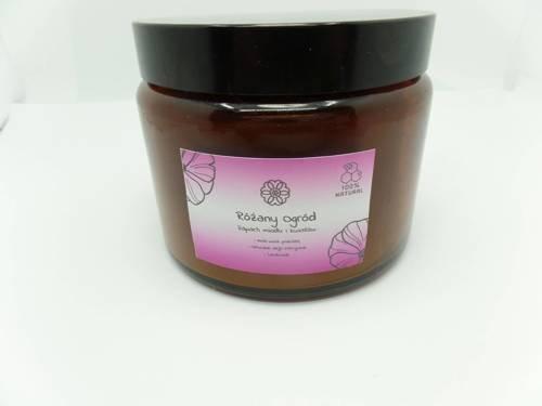 Świeca w słoiku z wosku pszczelego różany ogród 500 ml