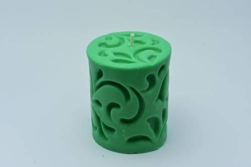 Świeca z wosku sojowego zielony walec flora 330 g