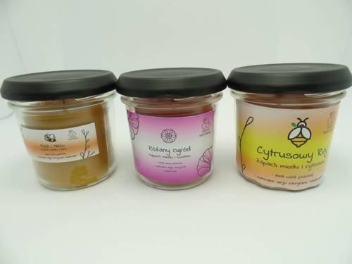 Zestaw 3 świec w słoiku z wosku zapachowe 120 ml
