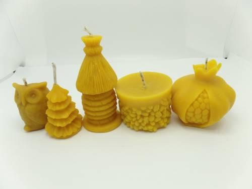 Zestaw ŚWIĄTENCZY pięciu świec + worek pszczelarza prezent II