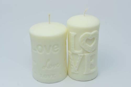 Zestaw dwóch świec z wosku sojowego miłosne love